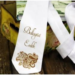 Fehér nyakkendő - Motívummal