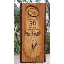 50. házassági évfordulóra ajándék fa falióra