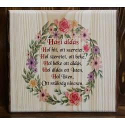 Házi áldás fatábla színes virágmintával